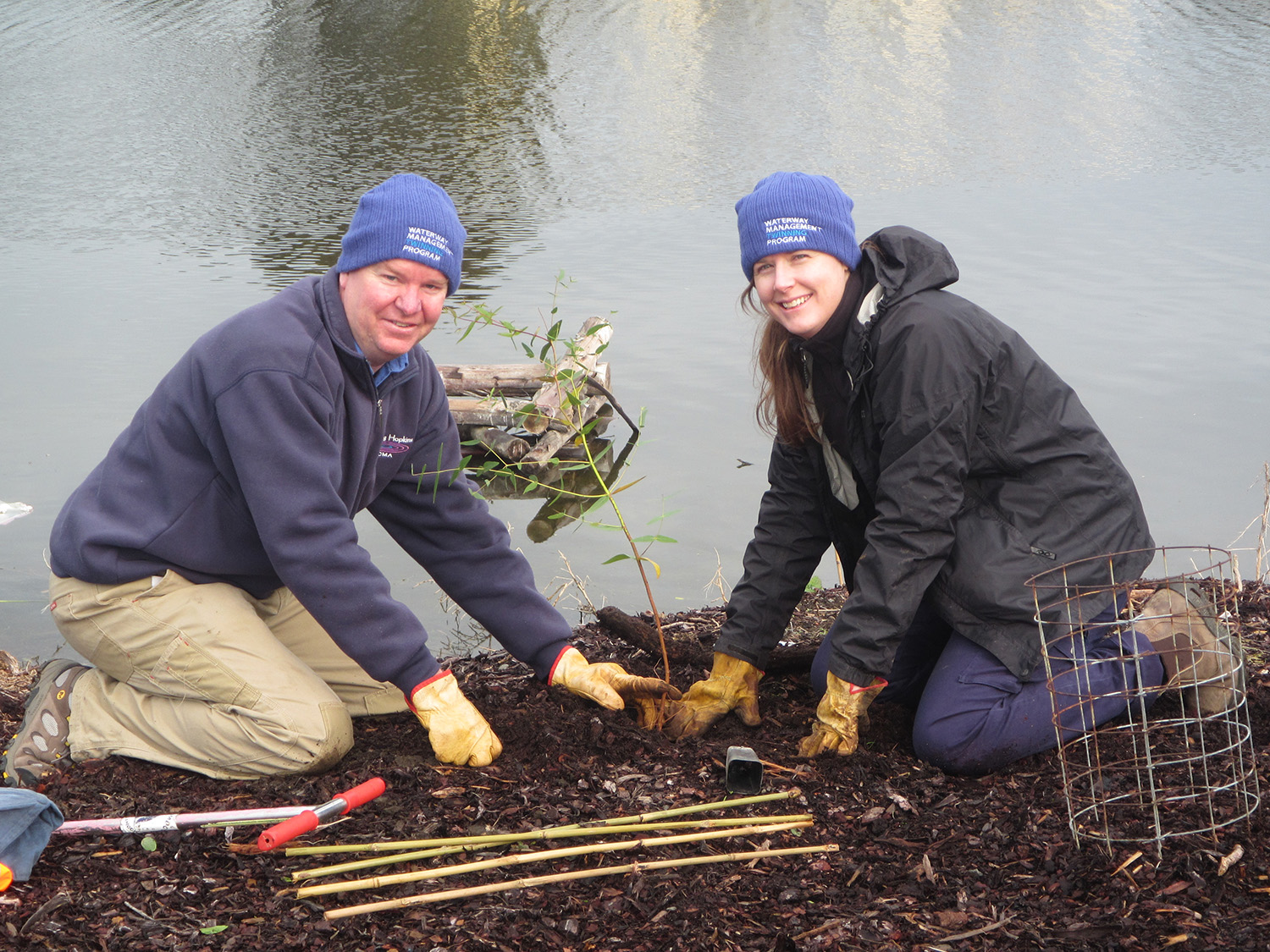 Steve and Renae planting their twinning tree