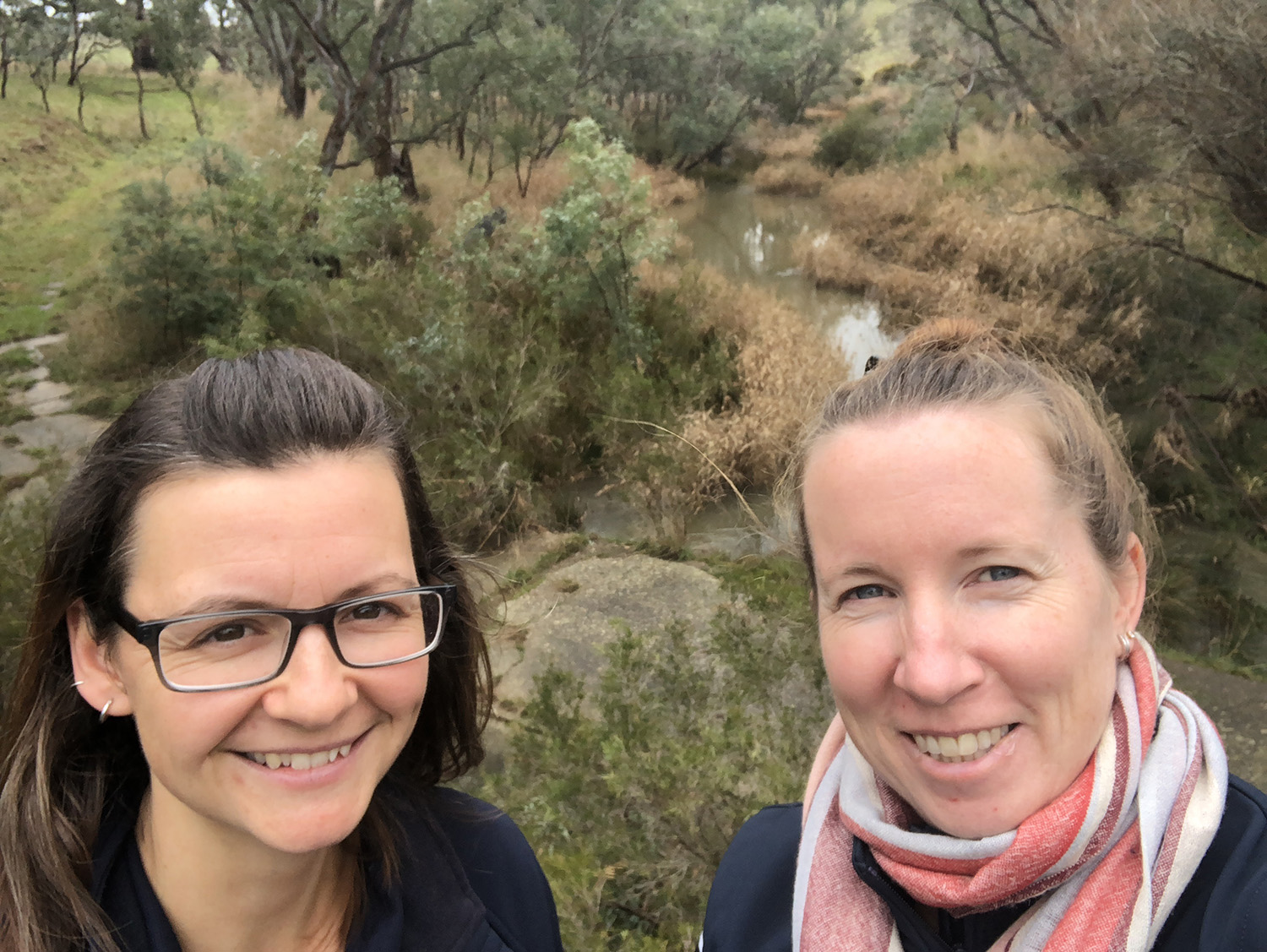 Kirsten and Nat catching up in person as part of the Kilmore Offset Project, photo credit: NECMA