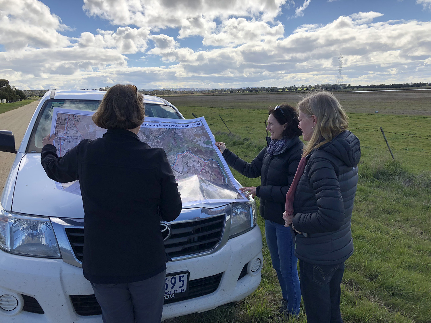Sharing plans for the Lower Barwon floodplain from left Donna Smithyman City of Greater Geelong, Jaclyne Scally, RMCG and Jenny Emeny, Warrnambool City Council (3 Sep 2018). Photo credit: Trent Wallis