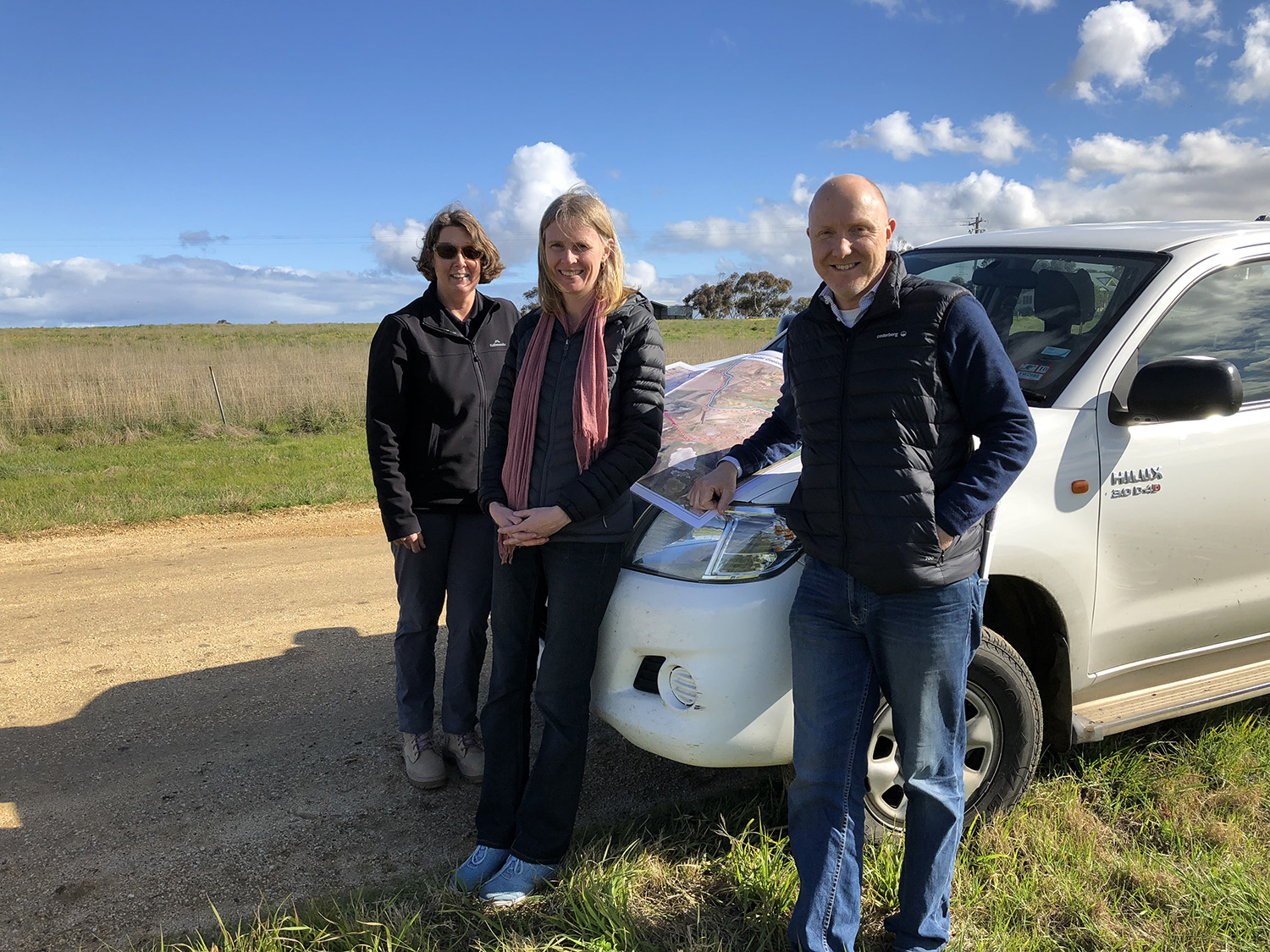 Learning about plans for the Lower Barwon floodplain from left Donna Smithyman City of Greater Geelong, Jenny Emeny, Warrnambool City Council and Trent Wallis, RMCG (3 Sep 2018). Photo credit: Jaclyne Scally