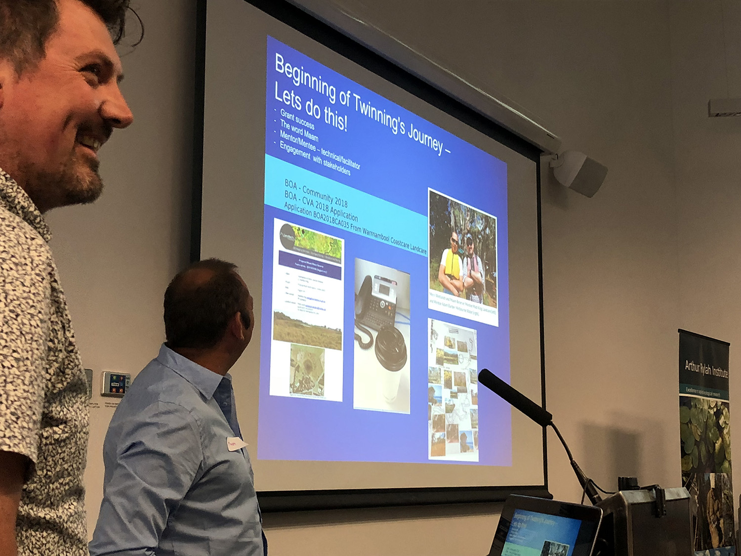 Photo: Adam Barber (mentor from Melbourne Water) and Matt King (mentee from Mad for the Merri and Landcare scholarship recipient) presenting on their project Secrets of the Maam Wetland.