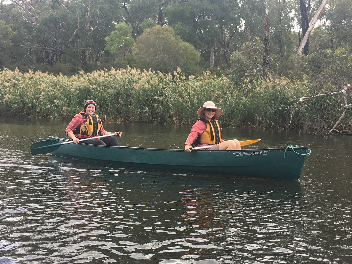 Kira and Sarah canoeing down the river. Photo: Lucy Cameron
